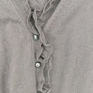 J. Crew Sweaters - J. Crew Black Wool Ruffled Cardigan